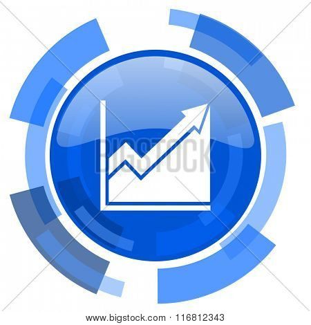 histogram blue glossy circle modern web icon