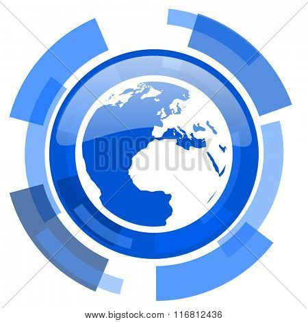 earth blue glossy circle modern web icon