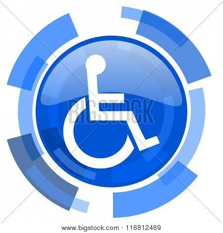 wheelchair blue glossy circle modern web icon