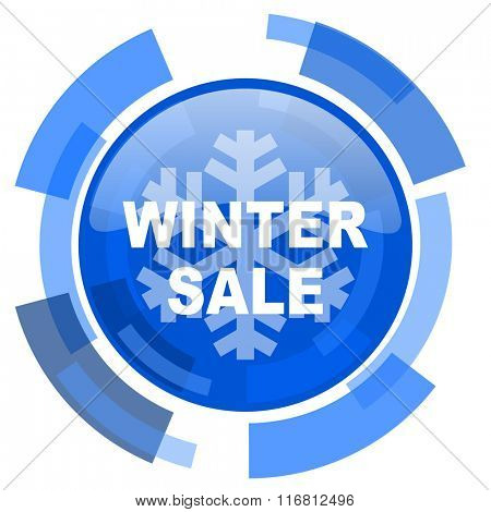 winter sale blue glossy circle modern web icon
