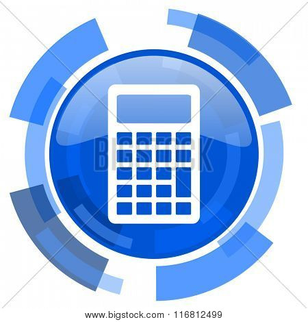 calculator blue glossy circle modern web icon