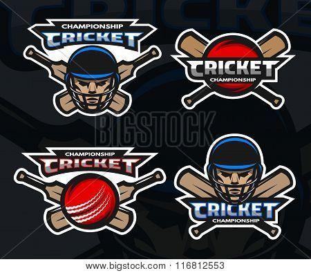 Cricket sports logos on a dark background.