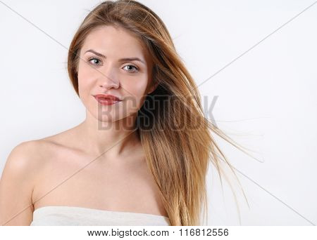 Fashion Spa Portrait Of Beautiful Young Blonde Woman