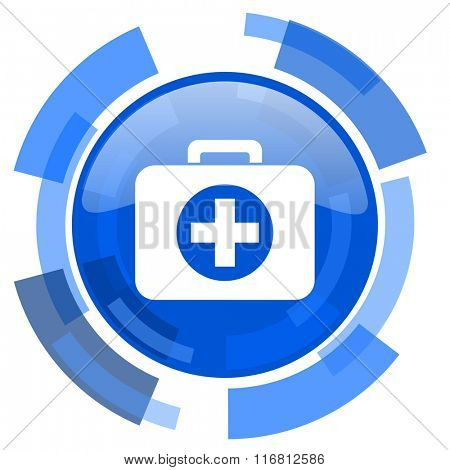 first aid blue glossy circle modern web icon