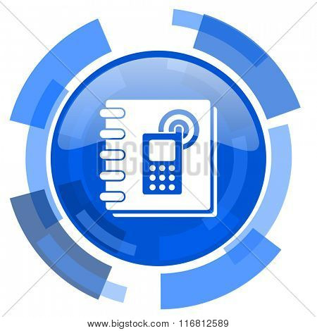phonebook blue glossy circle modern web icon
