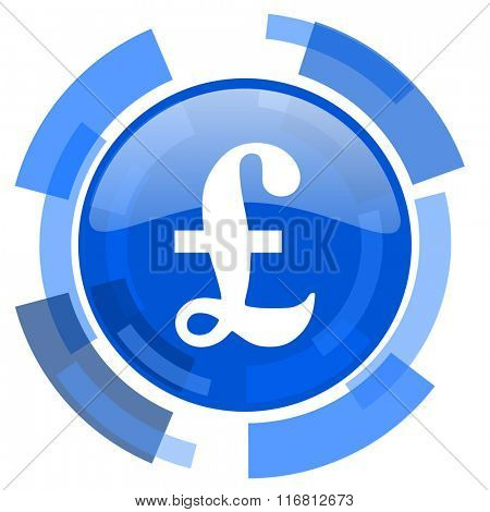 pound blue glossy circle modern web icon