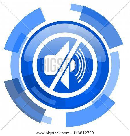 mute blue glossy circle modern web icon