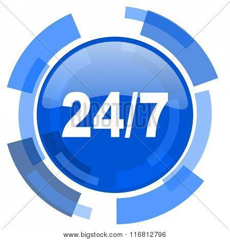 24/7 blue glossy circle modern web icon