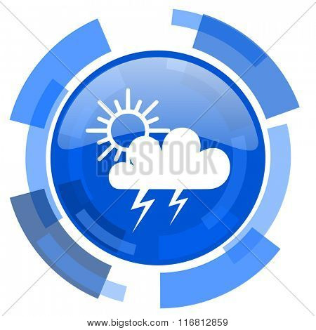 storm blue glossy circle modern web icon
