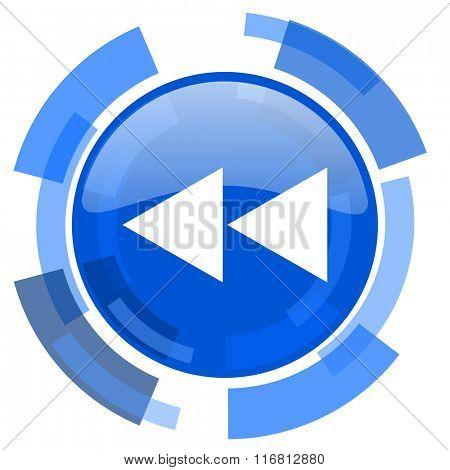 rewind blue glossy circle modern web icon