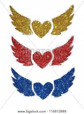 Set of three abstract hearts with wings sparkle on white background