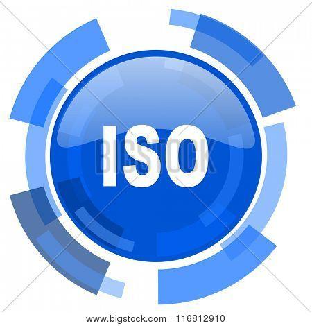 iso blue glossy circle modern web icon