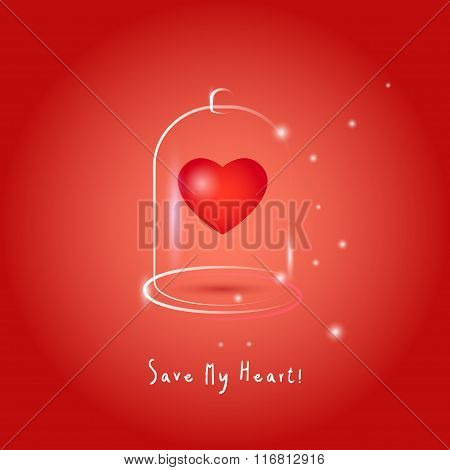 One red heart in glass bubble