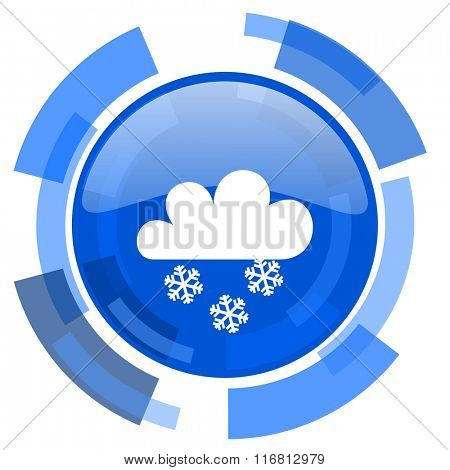 snowing blue glossy circle modern web icon