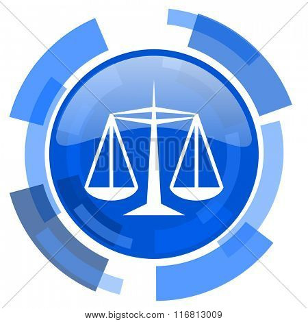 justice blue glossy circle modern web icon