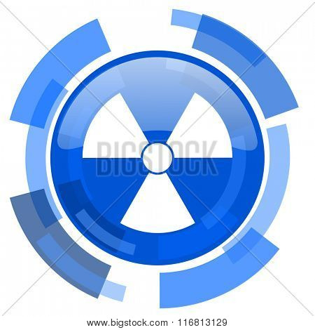 radiation blue glossy circle modern web icon