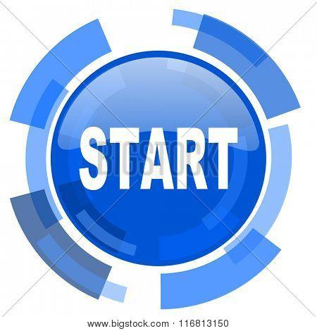 start blue glossy circle modern web icon