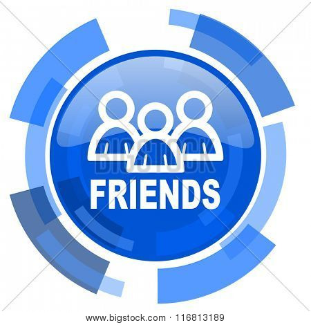 friends blue glossy circle modern web icon