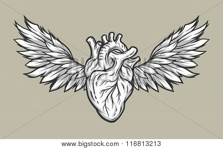 Heart with wings. Tattoo, symbol.