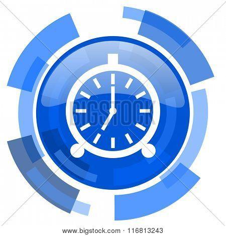 alarm blue glossy circle modern web icon