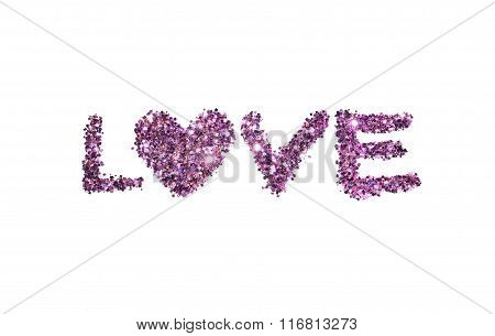 Word Love of purple glitter sparkle on white background