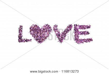 Word Love of purple glitter sparkle on white background