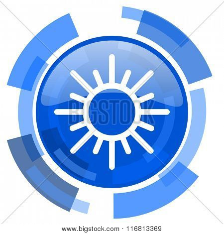 sun blue glossy circle modern web icon