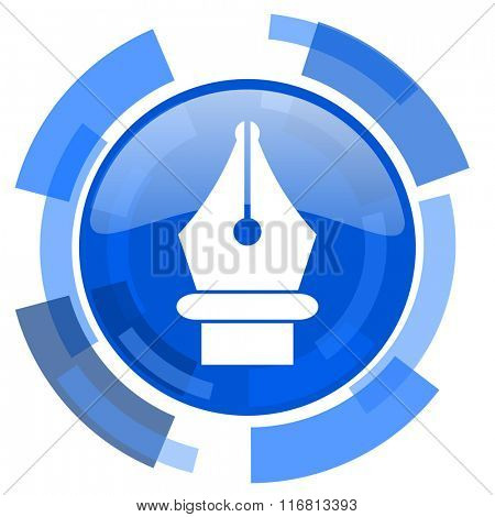 pen blue glossy circle modern web icon