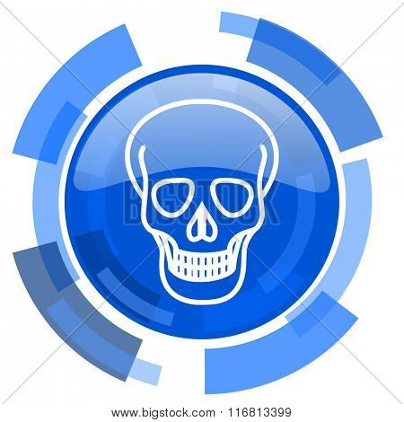 skull blue glossy circle modern web icon