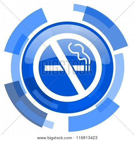 no smoking blue glossy circle modern web icon