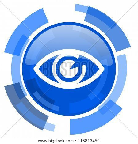 eye blue glossy circle modern web icon
