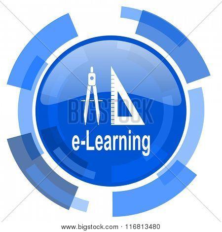 larning blue glossy circle modern web icon