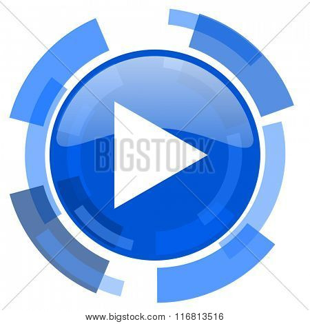 play blue glossy circle modern web icon