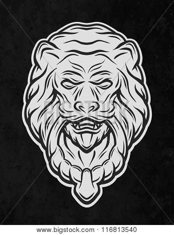Lion head door. On a dark background.