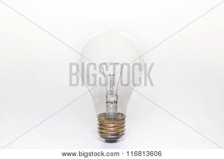 Single Light Bulb On White Background