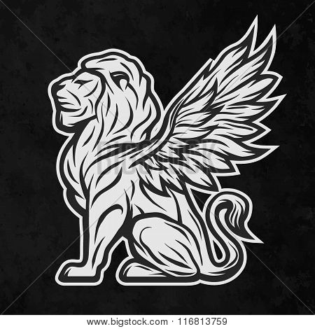 Lion with wings. On a dark background.