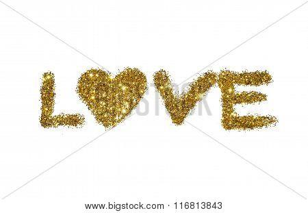 Word Love of golden glitter sparkle on white background
