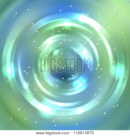 Vector Round Frame. Shining Circle Banner. Vector Design. Green, Blue Colors. Glowing Spiral