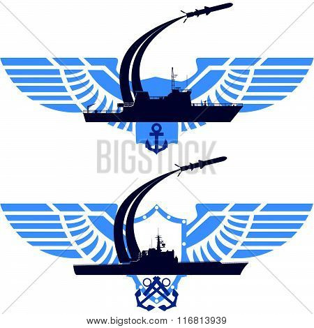 The icons of the NavyThe icons of the Navy. Missile cruiser on abstract wings. The illustration on a