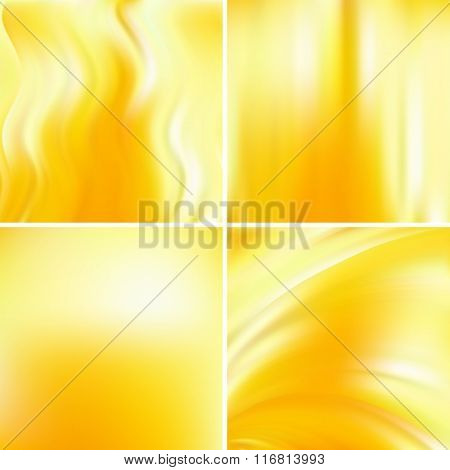 Set Of Four Square Backgrounds. Yellow, White Colors. Abstract Vector Illustration Of Colorful Backg