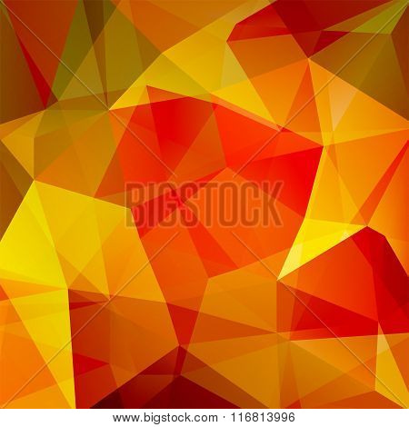 Abstract Background Consisting Of Triangles. Yellow, Red, Orange Colors. Geometric Design For Busine
