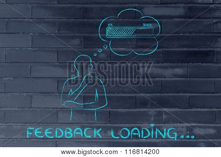 Person With Thought Bubble &  Progress Bar, With Text Feedback Loading