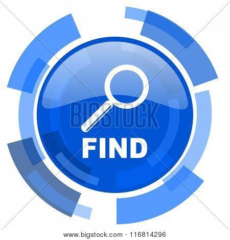 find blue glossy circle modern web icon