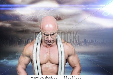 Bald man with rope around neck against stormy sky with tornado over road