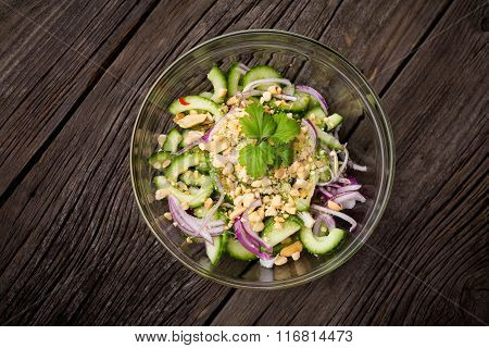 Homemade spicy thai cucumber salad