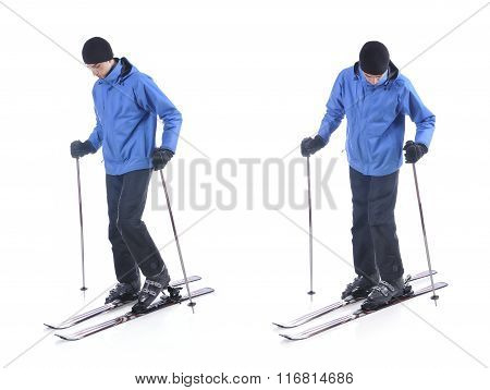Skiier Demonstrate How To Put On The Skis. Step By Step Instruction.