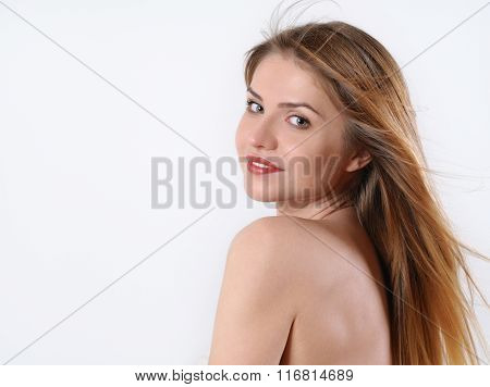 Spa Portrait Of Beautiful Blonde Woman Over The Shoulder