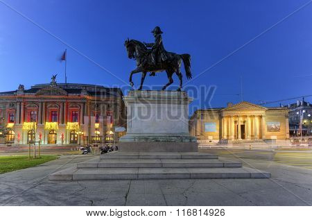 General Dufour statue, grand opera and Rath museum at place Neuve, Geneva, Switzerland