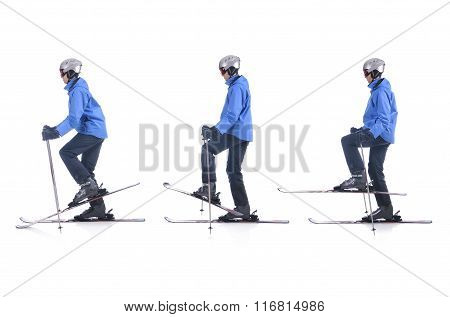 Skiier Demonstrate How To Warm Up In Skiing. Balance Exercise.