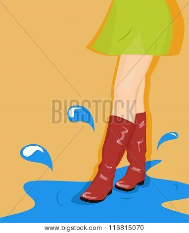 Girl Goes Through The Puddles